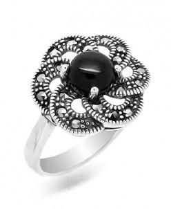 Кольцо, марказит , оникс, ТМН7 Артикул: 627550