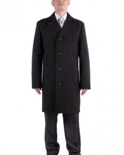 06-0044 Пальто мужское демисезонное (Рост 176) Кашемир Черны