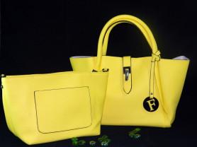 Сумка Fendi желтая из эко-кожи