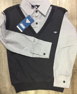 Обманка жилетка-рубашка в микрополоску, серая