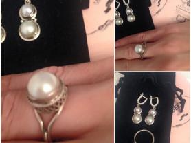 комплект серебро жемчуг италия новый