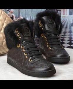 Gucci (копия)  на меху КРОЛИК ! - черные