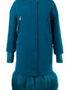 09-2303 Пальто женское утепленное Кашемир/Плащевка Бирюза