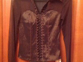 Блуза-корсет AM шоколадного цвета с сеткой р.44