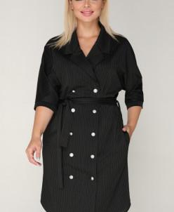 Платье 209/1 черный/полоска