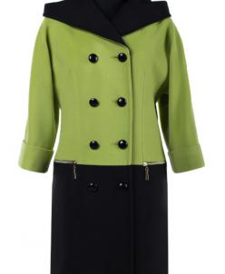 01-6516 Пальто женское демисезонное Кашемир Зеленый-черный