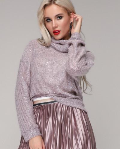 Джемпер 305 розовый/серый меланж