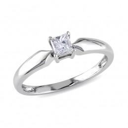 AMOUR 1/4 CT Princess Diamond TW Solitaire Ring 10k