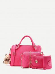 Модный кожаный комплект сумки 4 шт. с милым мишкой