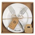 Mud Pie Mr. & Mrs. Plate & Fork Set