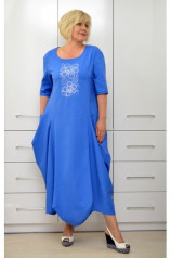 Платье бохо электрик с вышивкой Л350-5