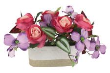 Декоративные цветы Розы малиновые с сиреневыми цветами в кер
