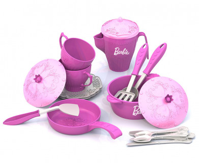 Набор кухонной и чайной посудки БАРБИ (21 предмет в сетке)