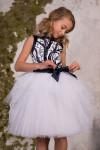 детское нарядное платье 0410 темно синее с белым