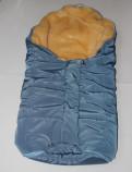 Зимний меховой конверт-кокон, цвет бронзовый хаки и синий