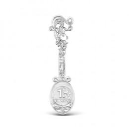 Ложка-загребушка из серебра родированная - 3,3 см