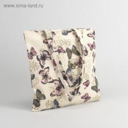 """Сумка текстильная """"Бабочки"""", отдел на молнии, без подклада"""