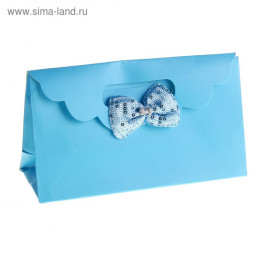 """Пакет с клапаном """"Текстильный бант"""", цвет голубой"""