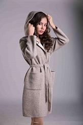 Пальто из шерсти яка с капюшоном серое