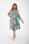 Платье летнее из хлопка с юбкой клеш принт ментоловые цветы