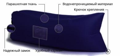 Надувной лежак Lamzac (Ламзак) с карманами синий