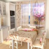 Тюль для кухни Фреска с цветком 1