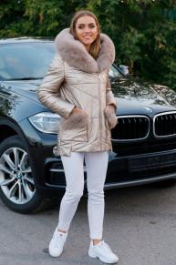 Женская зимняя куртка из эко-кожи 8189 серебристая