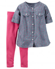 2-Piece Chambray Top & Legging Set