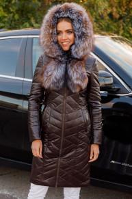Женская зимняя куртка из эко-кожи 8799 коричневая