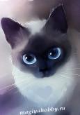 Алмазная живопись - мозаика.Сиамская кошка