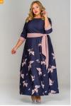 Платье длинное из крепа, принт журавли
