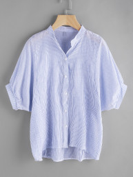 Модная асимметричная блуза в полоску, рукав-фонарик