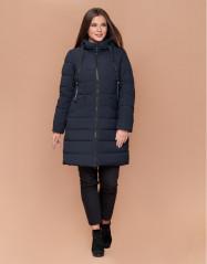Темно-синяя удобная куртка женская большого размера модель 1