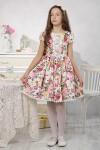 """Платье для девочки """"Цветы на белом"""" (рост 134 см)"""