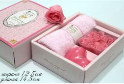 Подарочный набор мыло + полотенце. 12х14см