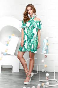 Платье 1261 р.XS цвет белый-зеленый