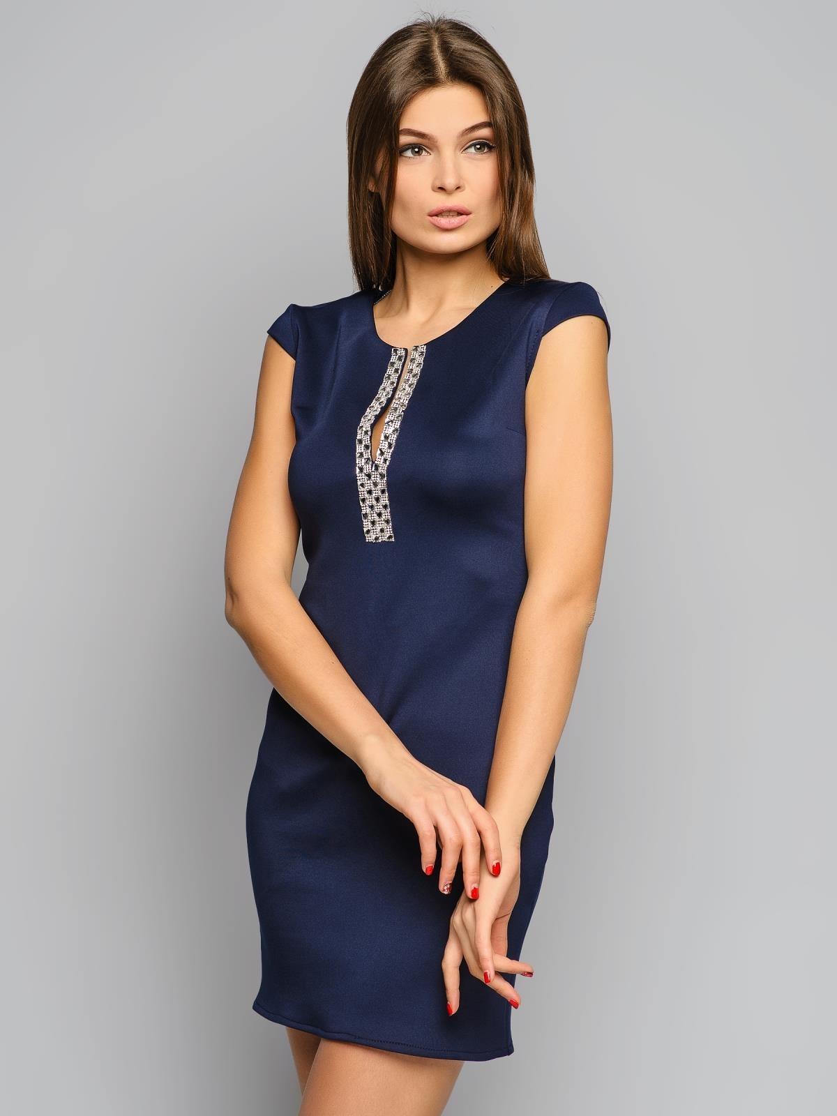 Как украсить простое синее платье своими руками