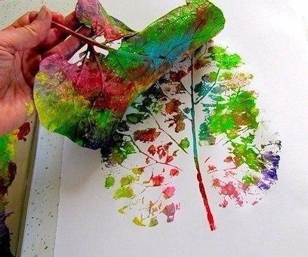 Рисуем листьями и красками