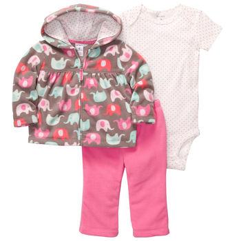 Carters флисовый комплект пуловер+брюки+боди «Слонята»