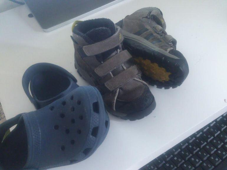 Обувь на мальчика теплые полуботинки ADIDAS 16 см и Crocs размер 8|9
