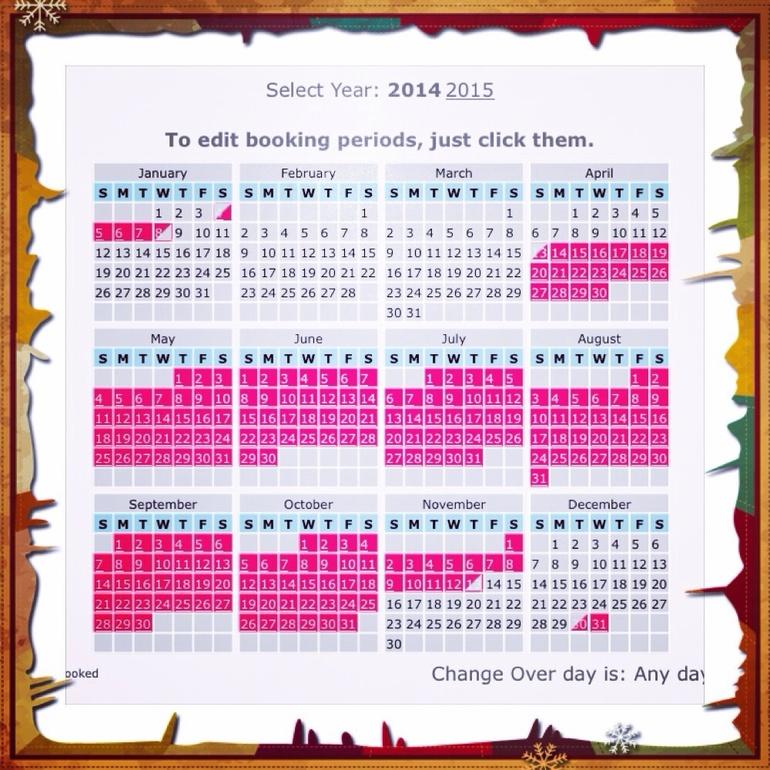 Обновленный календарь брони наших апартаментов в Испании на 2014 год