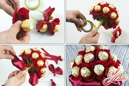 Букеты из конфет пошагово