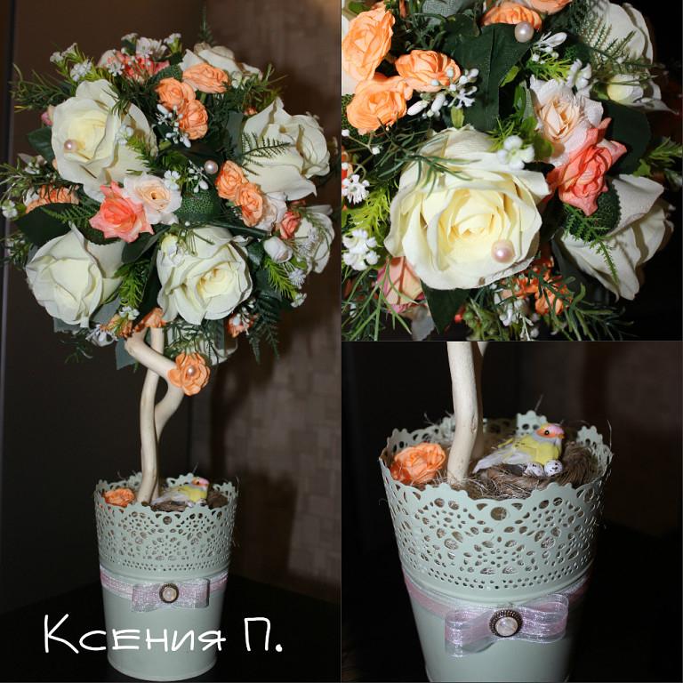 Искусственные цветы своими руками топиарии 20