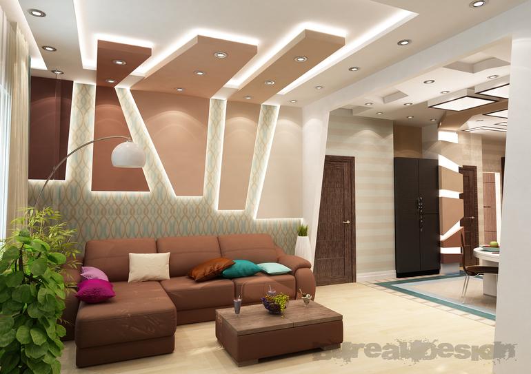 Дизайн совмещенной гостиной с коридором