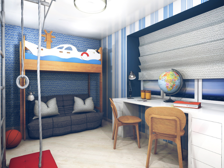 Интерьер дизайн комнаты для двух братьев