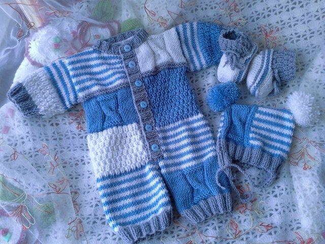Вязанных комбинезонов для новорожденного мальчика