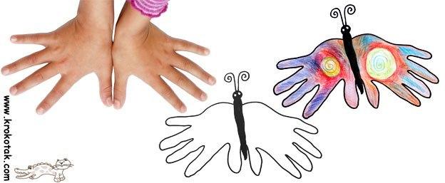 Он рисует ладонями рук