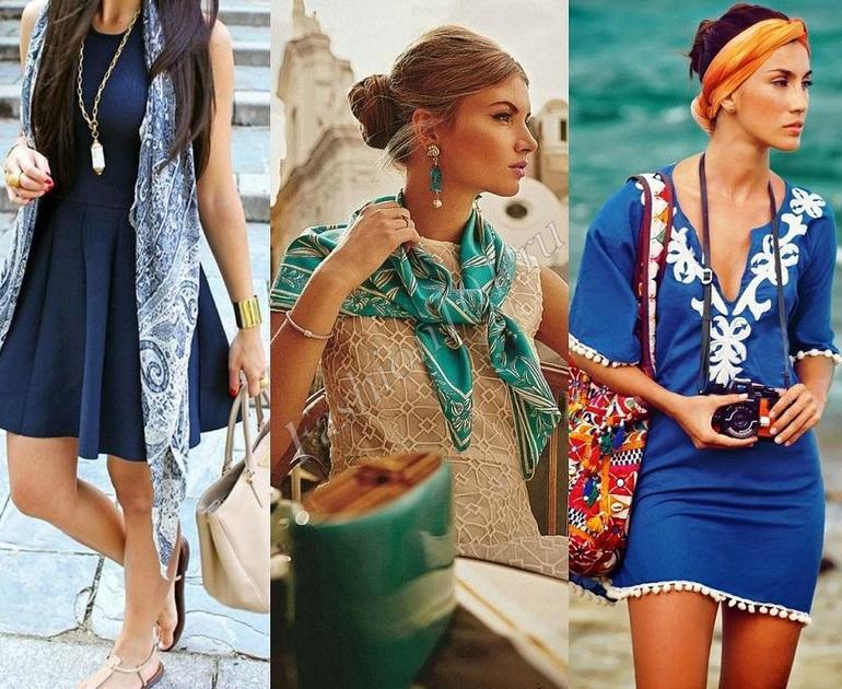 Шейные платки с платьем