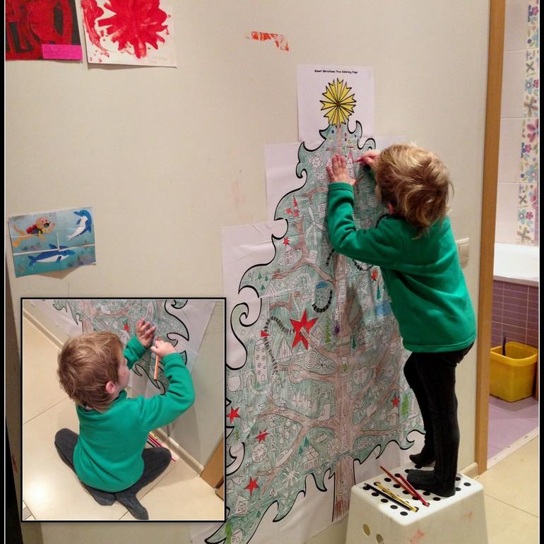 Большая новогодняя елка - раскраска : как это было ...