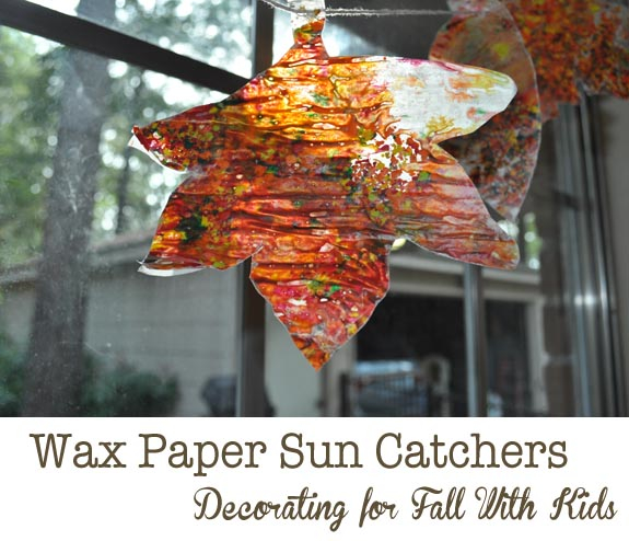 wax paper leaves Preserving nature by pressing leaves and flowers with waxed paper.